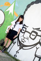 black Pinko skirt - white 5Preview t-shirt - black Chanel purse - black Giuseppe
