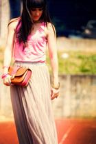 carrot orange Marc Jacobs bag - dark brown Casadei wedges - pink H&M top - heath