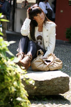 brown nadine leggings - white vintage t-shirt - white Zara jacket - beige dior a