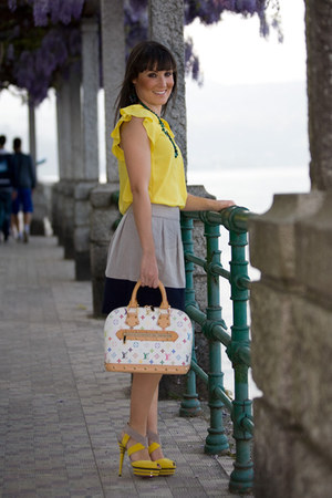 white Louis Vuitton bag - neutral Zara skirt - yellow cesare paciotti heels - ye