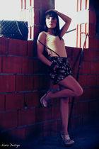 black Oysho shorts - beige Oysho top - brown Oysho accessories - pink Miu Miu sh