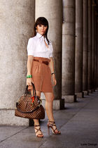 brown Zara shorts - white Antonio Marras shirt - brown Jimmy Choo shoes - brown