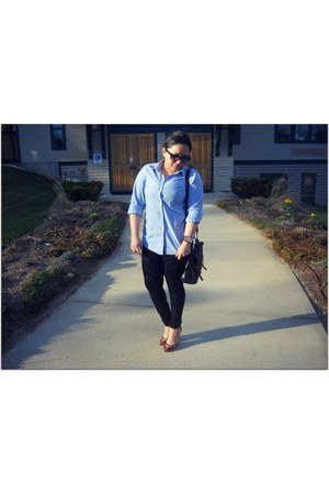 light blue banana republic shirt - black Zara leggings - Nine West bag