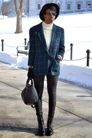 dark green vintage blazer - black thrifted boots - black wax skinny Tobi jeans