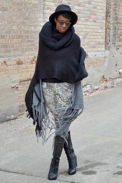 heather gray fringe thrifted cardigan