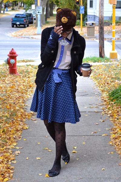 blue Friday on my Mind skirt - black sheer polka dot leg avenue tights
