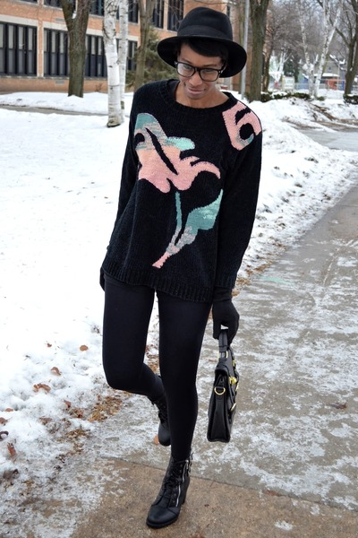pink vintage sweater - black thrifted boots - black fedora thrifted hat