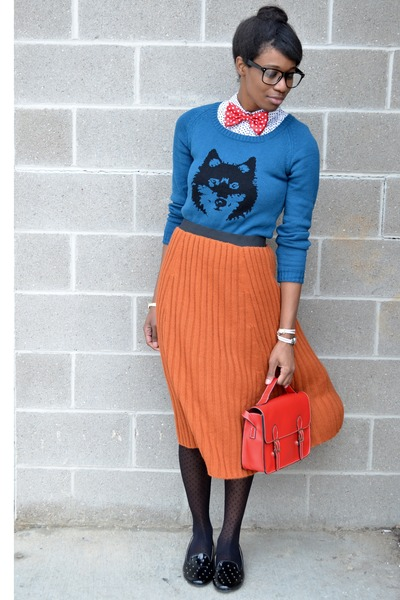 red modcloth tie - blue wolf Ladakh sweater - black modcloth tights