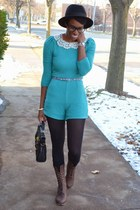 turquoise blue thrifted romper - dark brown UrbanOG boots