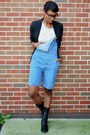 Black-urbanog-boots-black-suit-thrifted-jacket-light-blue-vintage-romper
