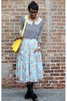 light blue floral Cotton Candy skirt - black Bamboo boots - yellow VJ Style bag