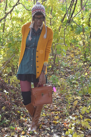 mustard everly cardigan - brown buckled Bamboo boots