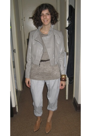 elle jacket - American Apparel t-shirt - Lux pants