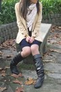 Dark-brown-lowrys-farm-boots-navy-dorothe-bis-dress-light-yellow-zara-blazer
