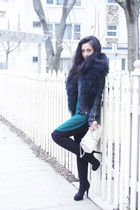 faux fur Zara scarf - suede knee high Aldo shoes - leather Artizia jacket