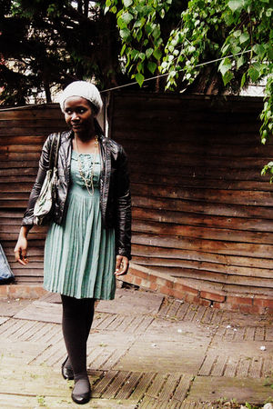 black H&M jacket - blue Primark dress - gray Marks and Spencers stockings - blac