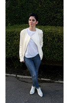 ivory leather Zara jacket - silver studded Zara shoes - sky blue Zara jeans