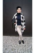 white plaid OASAP coat - black Bershka shoes - black reserved scarf