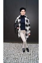 white plaid OASAP coat - black Bershka shoes - black reserved scarf