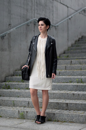 white Zara dress - black mule Front Row Shop shoes
