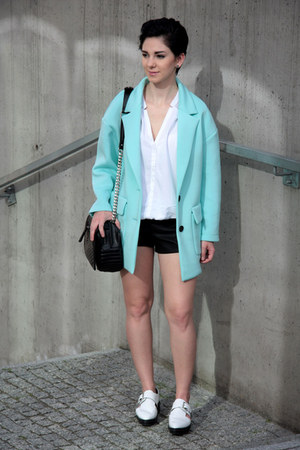 aquamarine Front Row Shop jacket - white Zara shoes - black Zara bag