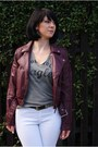 Crimson-leather-jacket-h-m-jacket-heather-gray-zara-t-shirt