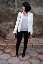 white Zara jacket - silver Zara shoes - black Zara bag - black Bershka pants