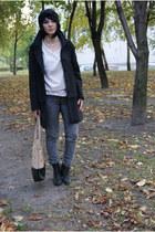 black Zara coat - black H&M shoes - tan Cubus bag - off white H&M cardigan