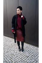 crimson leather Choies skirt - black Zara boots - black Zara coat