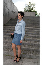light blue jeans sammydress shirt - black Mango bag - sky blue jeans OASAP skirt