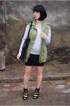 black leather reserved bag - dark khaki military Zara vest - black H&M skirt