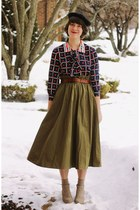 army green New Old Fashion Vintage skirt - black beret wool vintage hat