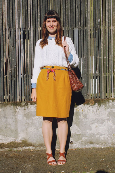 red pom pom Southwest Vintage belt - mustard pencil Bear and Twine skirt