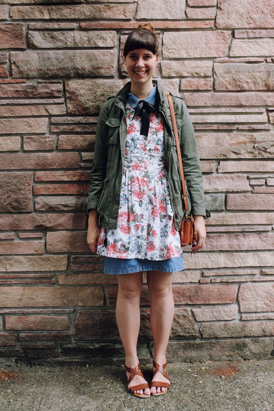 ivory floral Lost in Drawers dress - army green H&M jacket - brown H&M sandals