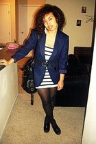 white H&M dress - navy wool vintage blazer - black Steve Madden clogs