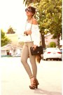 White-american-apparel-blouse-tan-riding-pants-american-apparel-pants