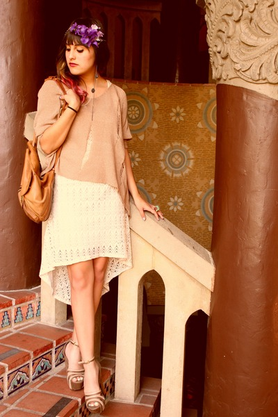 off white crochet Phanuel dress - light brown knit Fora sweater