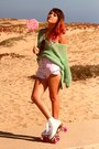 White-chicago-shoes-pink-retro-thrift-shorts-retro-sunglasses
