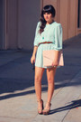 Light-blue-mint-chiffon-vintage-dress-light-pink-clutch-envelope-purse
