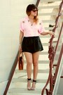 Black-pleated-leather-finderskeepers-shorts-light-pink-cover-charge-top