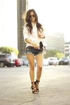 white Victorias Secret shirt - black Chanel bag - blue American Eagle shorts