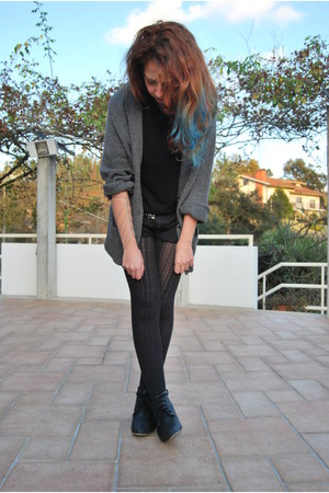 diy shorts - boots - black tights - hand chain La Bohe Mia accessories