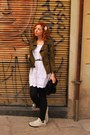 White-dress-olive-green-jacket-black-leggings-aquamarine-sneakers