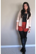 burnt orange Forever 21 shorts - black Steve Madden boots - cream vintage blazer