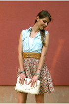 light pink floral skirt H&M skirt - ivory clutch H&M bag - mustard Pimkie belt
