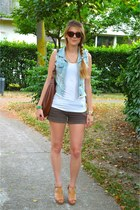denim Pimkie vest - H&M bag - Zara shorts - H&M top - Pimkie heels