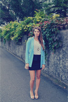 light pink pull&bear heels - sky blue H&M jacket - light pink asos bag