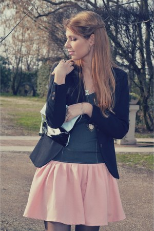 black H&amp;M blazer - light pink Eri De Sign dress - black Calzedonia tights