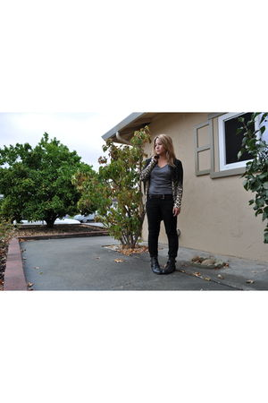 black DIY cardigan - gray Forever 21 shirt - black Mossimo leggings - black Fore