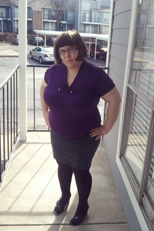 purple purple xhilaration tights - charcoal gray straight Basic House skirt